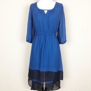 Delirious High Low Black & Blue Long Sleeve Dress